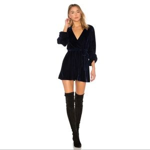 Tularosa Tawney Velvet Wrap Dress Blue XS NWT